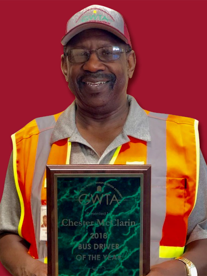 Chester McClarin with driver of the year award