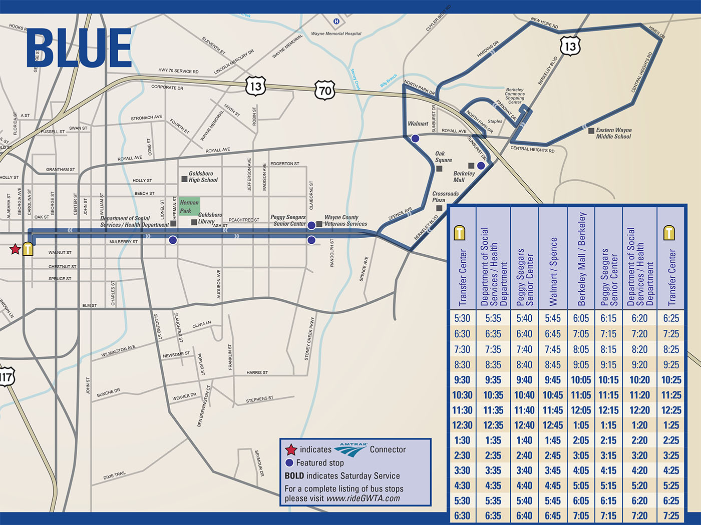 GWTA Blue Route Schedule map