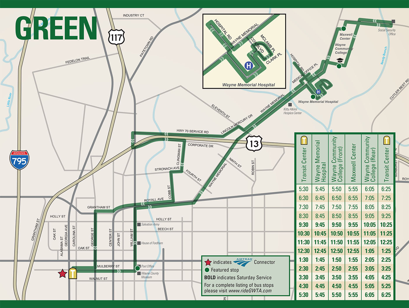 GWTA Green Route Schedule map