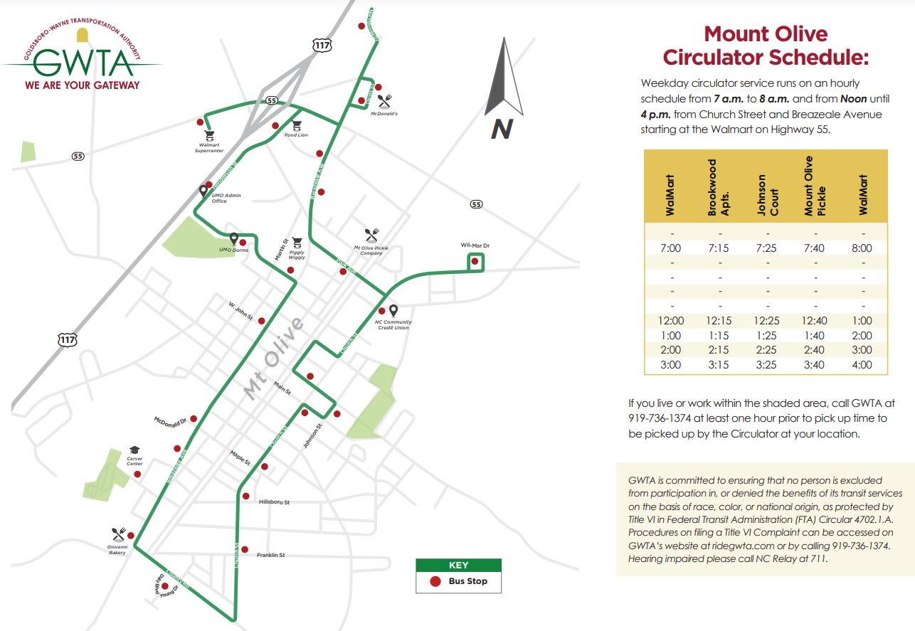 GWTA Mt Olive Connector Schedule