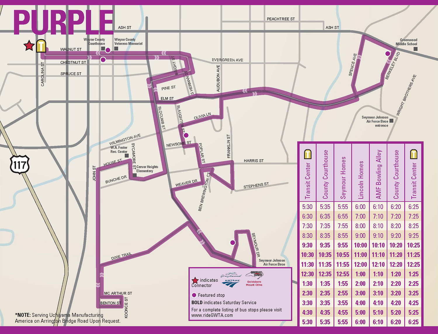 GWTA Purple Route Schedule map