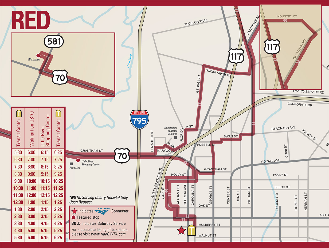 GWTA Red Route Schedule map