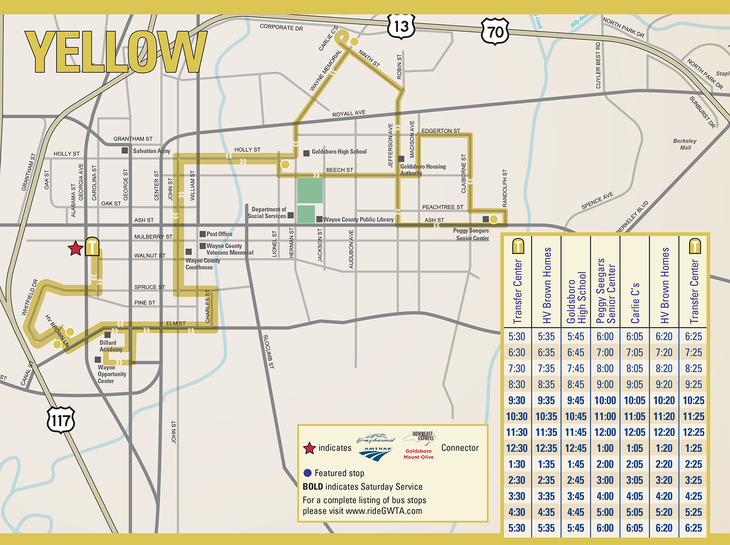 GWTA Yellow Route Schedule map