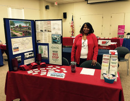 Job Fair woman at GWTA display