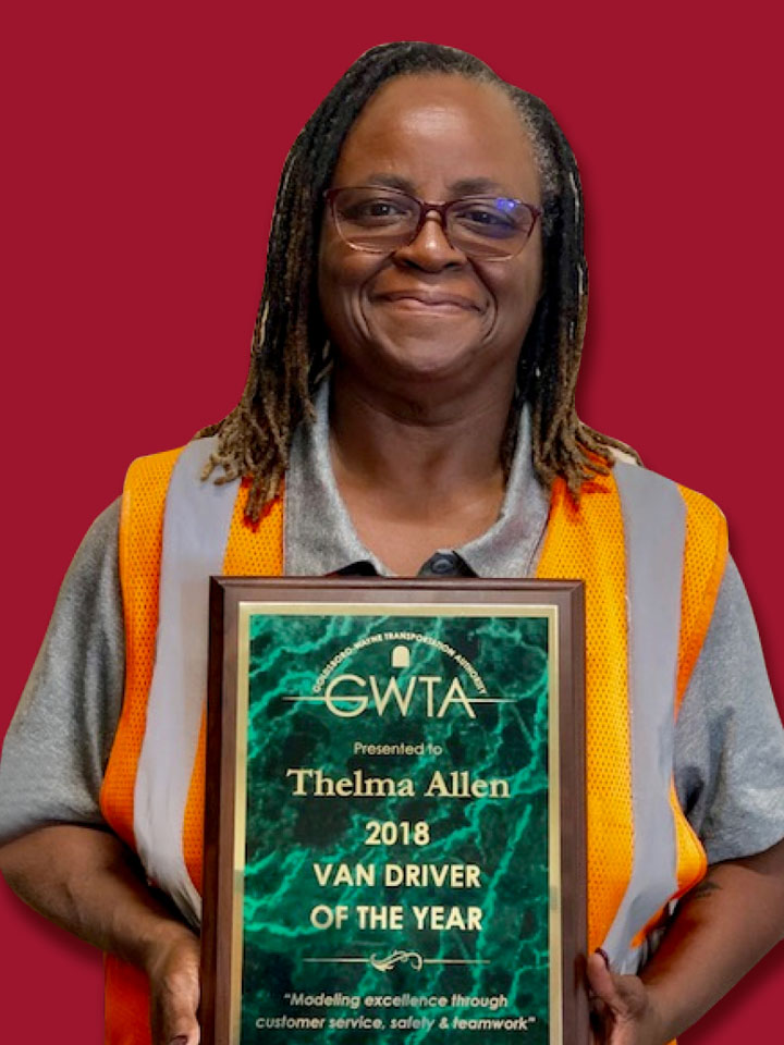 Thelma Allen with driver of the year award